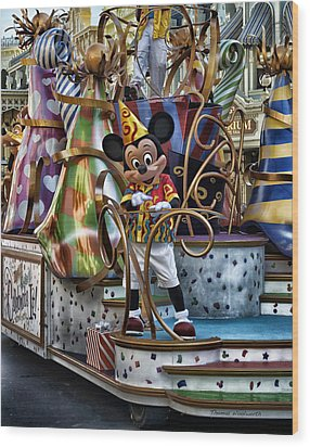 Mickey Mouse On His Celebrate It Float Wood Print by Thomas Woolworth