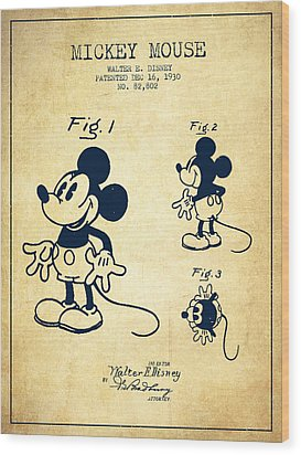 Mickey Mouse Patent Drawing From 1930 - Vintage Wood Print by Aged Pixel