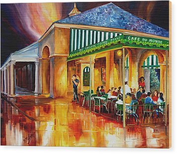 Midnight At The Cafe Du Monde Wood Print by Diane Millsap