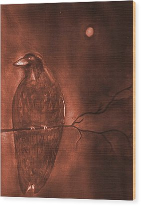 Midnight Solitude Wood Print by Noreen  Withrow Roux