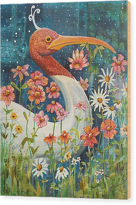 Midnight Stork Walk Wood Print by Blenda Studio