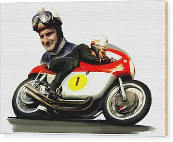 Mike The Bike  Mike Hailwood Wood Print by Iconic Images Art Gallery David Pucciarelli