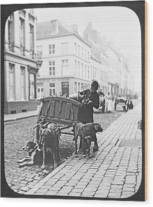 Wood Print featuring the photograph Milk Wagon Street Scene Germany C 1900 Vintage Photo by A Gurmankin