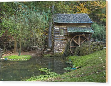 Mill Pond In Woods Wood Print by William Jobes