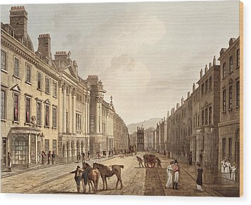 Milsom Street, From Bath Illustrated Wood Print by John Claude Nattes