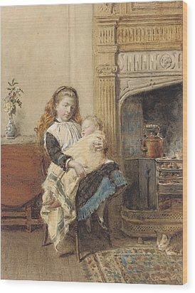 Minding Baby Wood Print by George Goodwin Kilburne