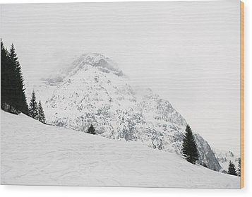 Minimalist Snow Landscape - Mountain And Trees In Winter Wood Print by Matthias Hauser