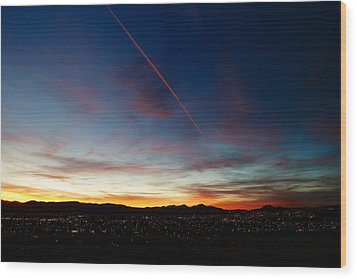 Mining City Sunset Wood Print by Kevin Bone