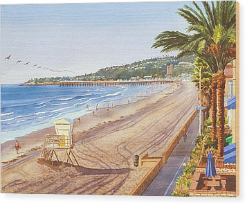 Mission Beach San Diego Wood Print by Mary Helmreich