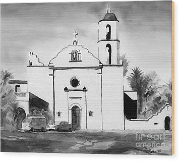 Mission San Luis Rey Bw Blue Wood Print by Kip DeVore