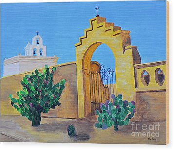Wood Print featuring the painting Mission San Xavier by Rodney Campbell