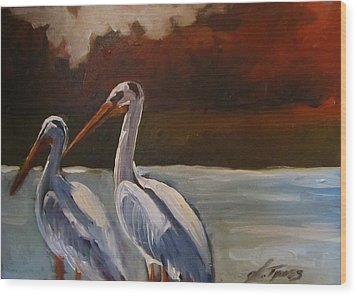 Missouri River Pelicans Wood Print by Suzanne Tynes