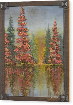 Misty Reflection Wood Print by Vic  Mastis
