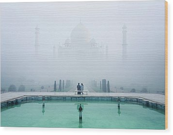 Misty Taj Mahal Wood Print by Karthi Kn Raveendiran