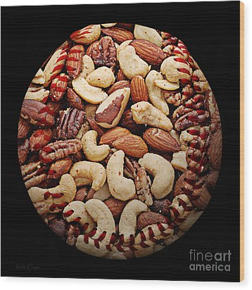 Mixed Nuts Baseball Square Wood Print by Andee Design