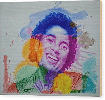 Mj Color Splatter Wood Print by Sruthi Murali