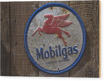 Mobil Gas Sign Wood Print by Garry Gay