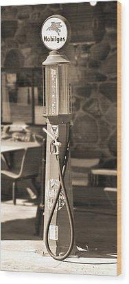 Mobilgas Visible Gas Pump 2 Wood Print by Mike McGlothlen
