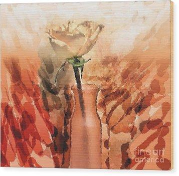 Modern Rose Wood Print by Marsha Heiken
