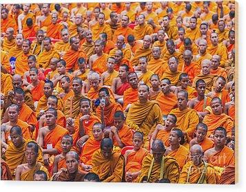 Monk Mass Alms Giving Wood Print by Fototrav Print