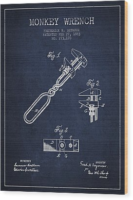 Monkey Wrench Patent Drawing From 1883 Wood Print by Aged Pixel