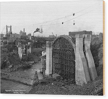 Monroe St Bridge Construction 1910 Wood Print by Daniel Hagerman