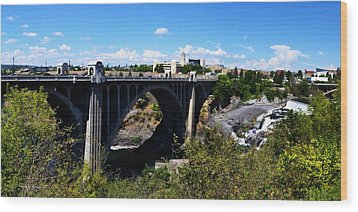 Monroe Street Bridge - Spokane Wood Print by Michelle Calkins