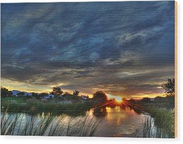 Monsoon Sunset Wood Print by Tam Ryan