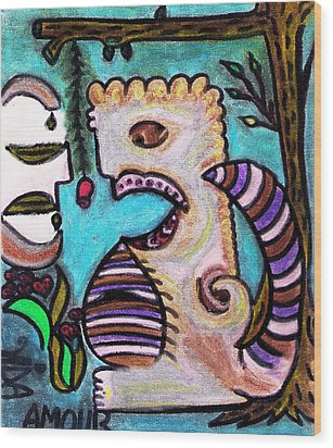 Monsters Love Life Too Wood Print by Lois Picasso