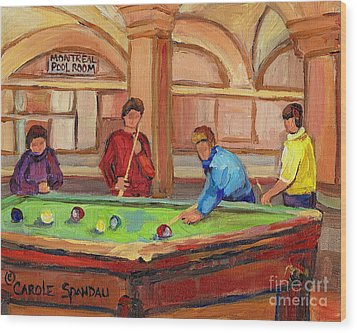 Montreal Pool Room Wood Print by Carole Spandau