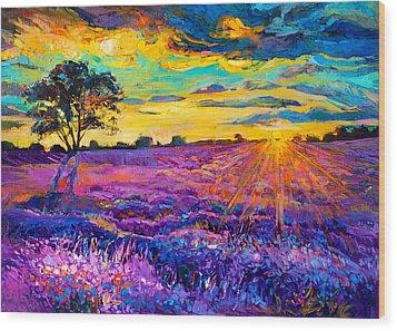 Lavender Field Wood Print by Ivailo Nikolov