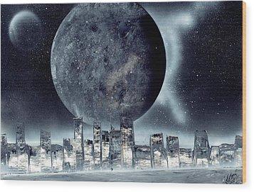 Moon Lit City Wood Print by Marc Chambers