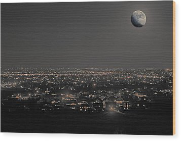 Moon Over Fort Collins Wood Print by David Kehrli