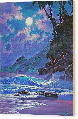 Moon Over Maui Wood Print by David Lloyd Glover