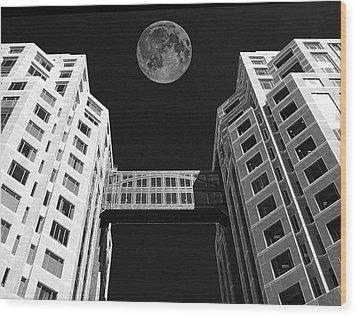 Moon Over Twin Towers Wood Print by Samuel Sheats