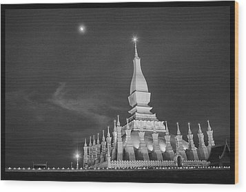 Moon Over Vientiane Wood Print by David Longstreath