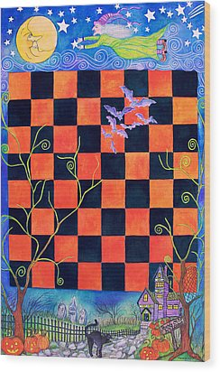 Flight Of The Moon Witch Checkerboard Wood Print by Janet Immordino