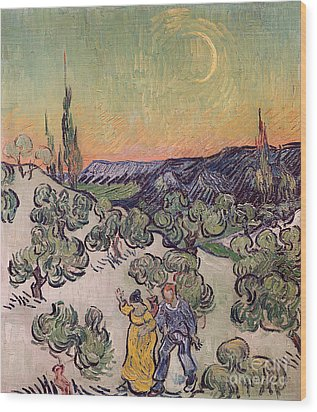Moonlit Landscape Wood Print by Vincent Van Gogh