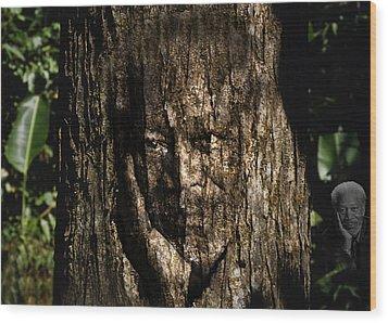 Morgan Freeman Roots Digital Painting Wood Print by Georgeta Blanaru