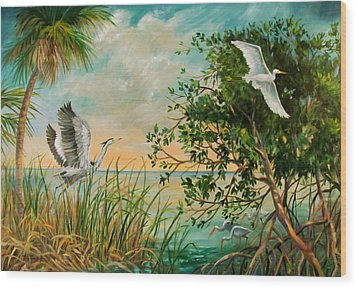 Morning Flight Wood Print by Dianna  Willman