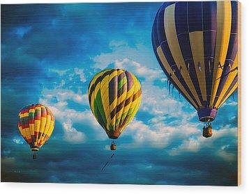 Morning Flight Hot Air Balloons Wood Print by Bob Orsillo