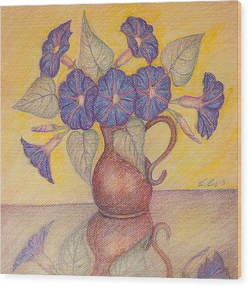 Morning Glories With Yellow Background Wood Print by Claudia Cox