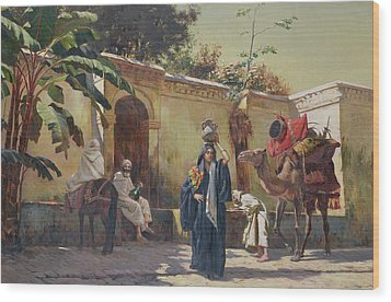 Moroccan Scene Wood Print by Rudolphe Ernst