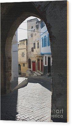 Morocco Door Light Wood Print by Joe Fantauzzi