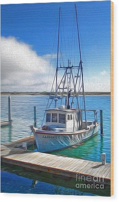 Morro Bay Fishing Boat Wood Print by Gregory Dyer