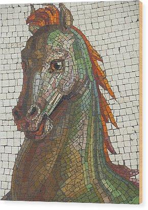 Mosaic Horse Wood Print by Marcia Socolik