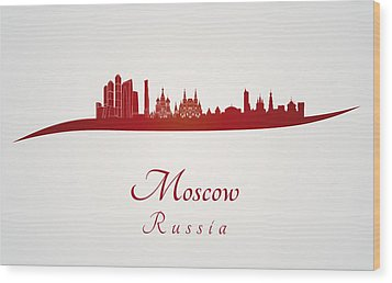 Moscow Skyline In Red Wood Print by Pablo Romero
