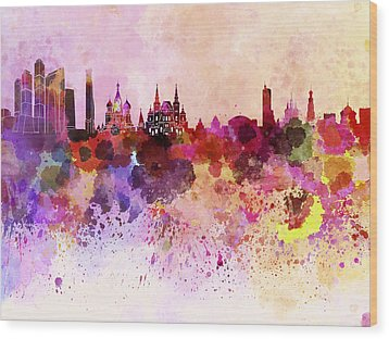 Moscow Skyline In Watercolor Background Wood Print by Pablo Romero