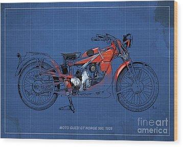 Moto Guzzi Gt Norge 500 1928 Wood Print by Pablo Franchi