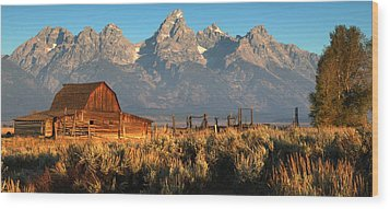 Moulton Barn - The Tetons Wood Print by Stephen  Vecchiotti